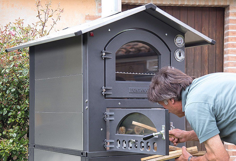 Holzbackofen Pizzaofen Fontana Gusto 57 Gartenofen mobil mit fahrbarem Unterwagen