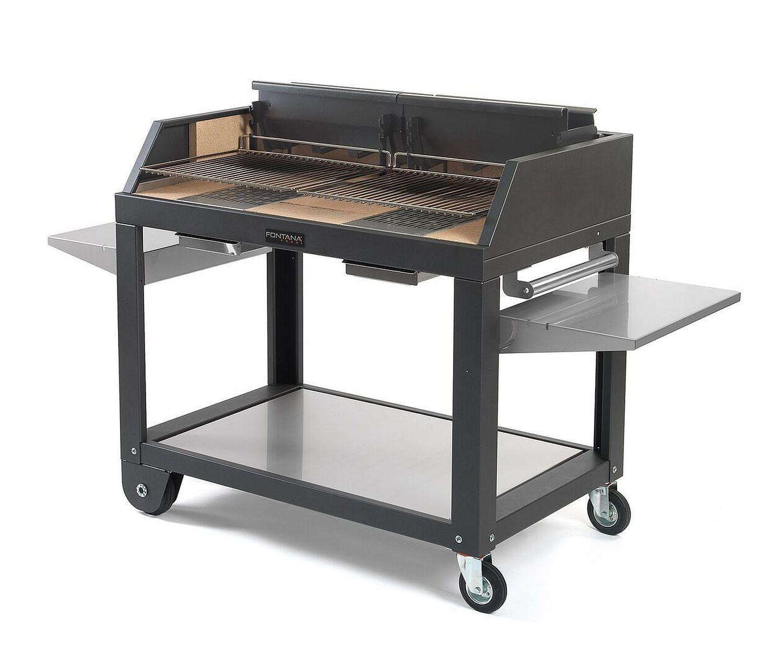 Grill Fontana Egeo 80 für Holz und Kohle Befeuerung mit fahrbarem Unterwagen