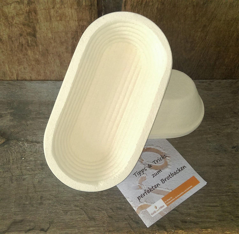 Gärkorb Gärkörbchen Brotform aus Holzschliff Form oval mit Rillenmuster für 1 kg Brote