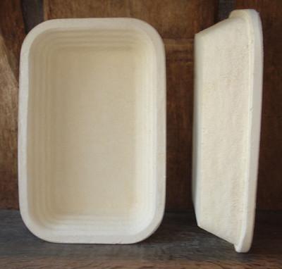 Gärkorb Brotform Holzschliff für 2,5 kg Brote rechteckig Rand Rille, inkl. Info