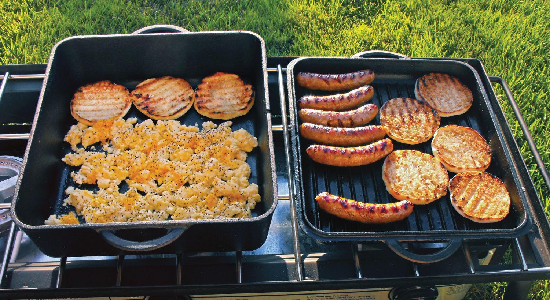 Dutch-Oven-Gusseisen-Kochtopf-Schmortopf-Camp-Chef-DO13S mit geriffelter Deckel-Pfanne
