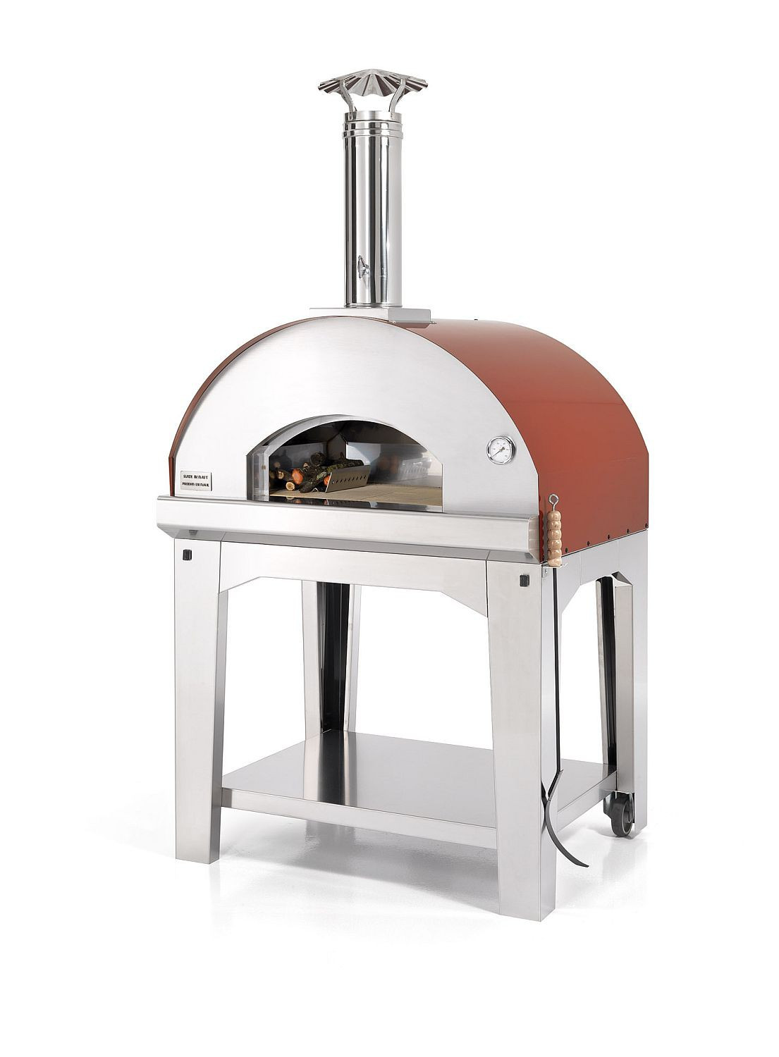 Pizzaofen Holzbackofen Mangiafuoco in Dachfarbe rot