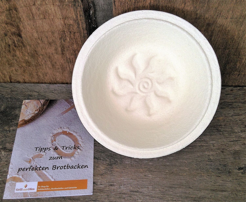 Gärkorb Gärkörbchen aus Holschliff in rund mit Bodenmuster Sonnenblume  für 1,0 kg Brote