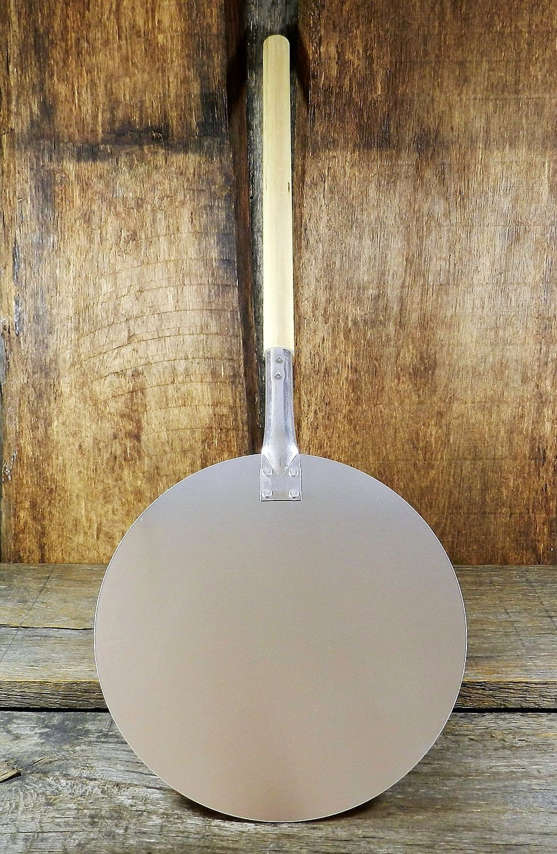 Pizzaschaufel Brotschieber aus Aluminium rund 30,5 cm Durchmesser, mit Holzstile, Gesamtlänge 79 cm lang