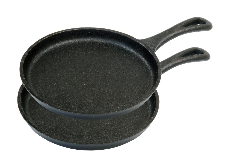 Mini Pfannen 2-er Set Servierpfanne Portionspfanne Gusseisen Pfanne Camp Chef ideal zum Zubereiten und Servieren