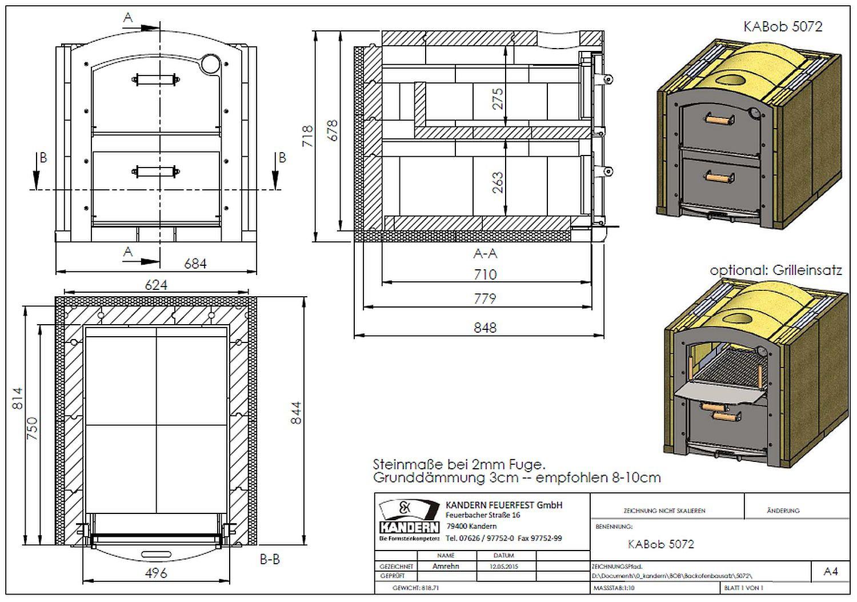 Holzbackofen Steinbackofen Bausatz KABoB 5072 doppelstöckig mit 2 Backkammern