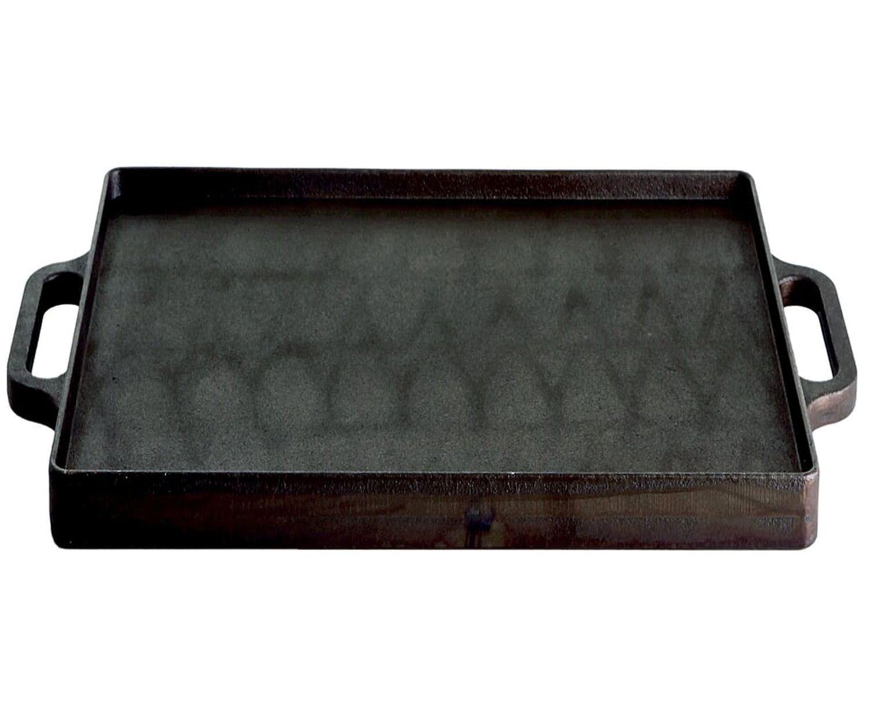 Gusseisen Grillplatte Plancha 32 x 32 cm mit einer geriffelte Seite, schwere Ausführung mit 2 Griffen
