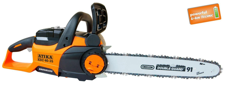 ATIKA Akku-Kettensäge KSC 40-35 die ideale Akku-Kettensäge für die Brennholzaufbereitung, Pflegeschnitte im Garten oder beim Heimwerken