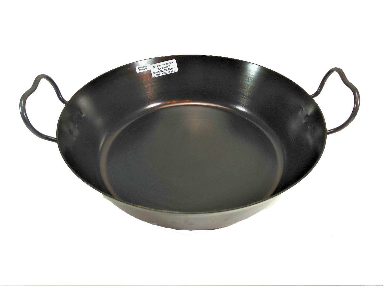 Helmensdorfer Bratpfanne | Schnitzelpfanne 32 cm gebläute Eisenpfanne hoher Rand, großes Volumen ideal zum Schnitzel braten