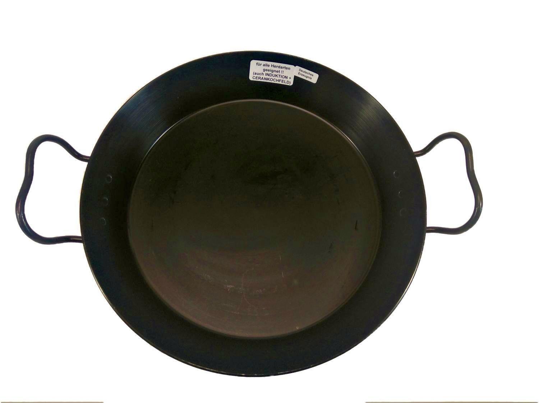 Helmensdorfer Paellapfanne   Bratpfanne 30 cm gebläut mit erhöhtem Rand und extra 3 mm starkem Boden