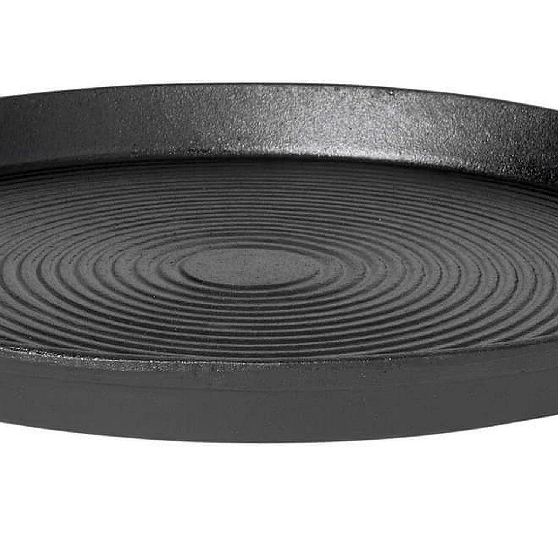 Gusseisen Grillpfanne Grillplatte 35 cm Durchmesser formstabile Grillpfanne für alle Herdarten, Grill, offenem Feuer, Holzbackofen und Pizzaofen