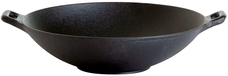 Gusseisen Wok 25 cm für alle Herdarten auch Induktion, Grill's, Holzbacköfen und Pizzaöfen geeignet