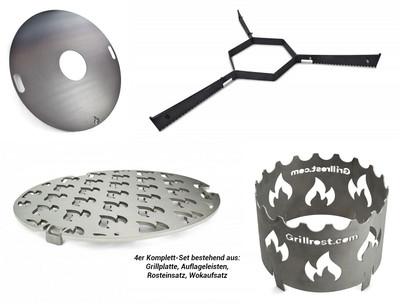 80 cm Grillplatte | Feuerplatte | Feuerring 4-tlg. Komplett-Set